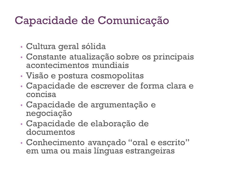 Capacidade de Comunicação Cultura geral sólida Constante atualização sobre os principais acontecimentos mundiais Visão e postura cosmopolitas Capacida