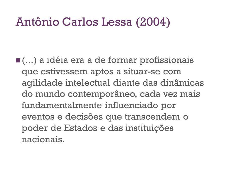 Antônio Carlos Lessa (2004) (...) a idéia era a de formar profissionais que estivessem aptos a situar-se com agilidade intelectual diante das dinâmica