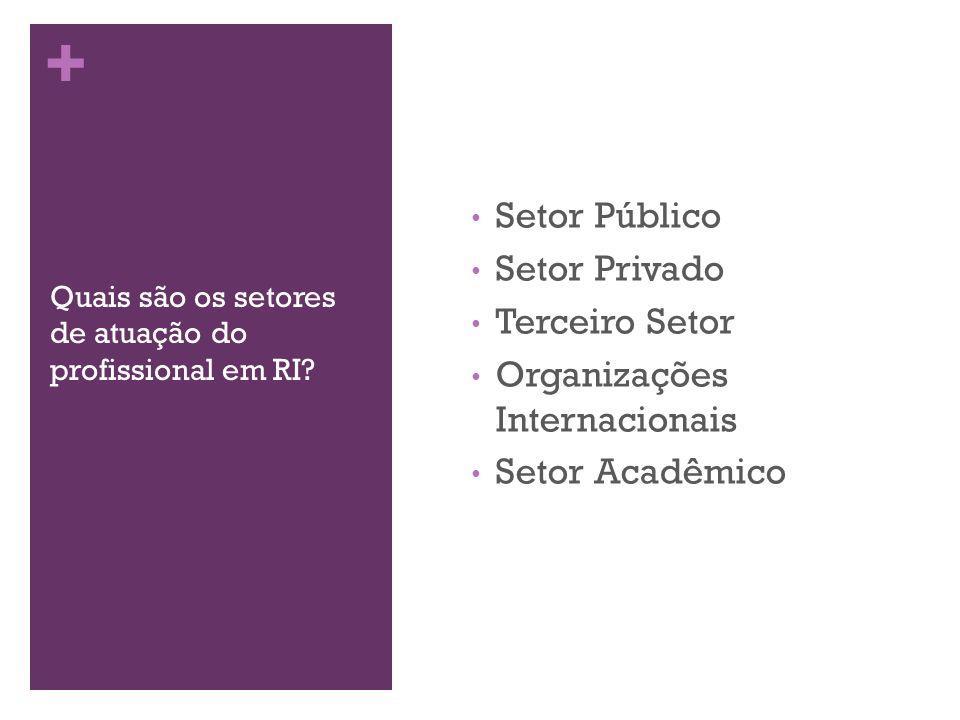 + Quais são os setores de atuação do profissional em RI? Setor Público Setor Privado Terceiro Setor Organizações Internacionais Setor Acadêmico