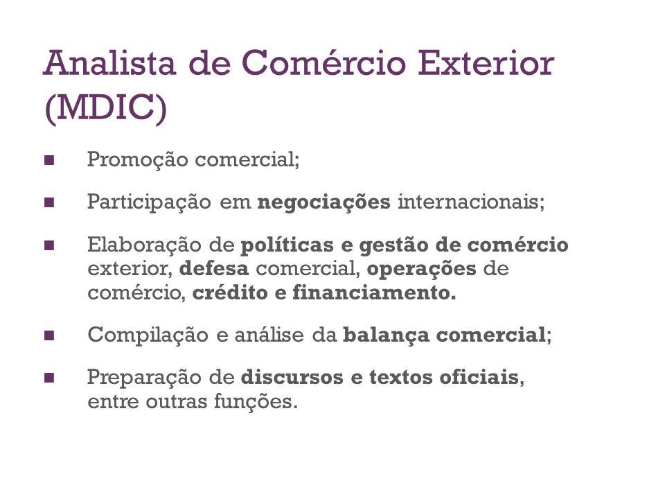 Analista de Comércio Exterior (MDIC) Promoção comercial; Participação em negociações internacionais; Elaboração de políticas e gestão de comércio exte