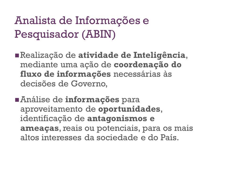 Analista de Informações e Pesquisador (ABIN) Realização de atividade de Inteligência, mediante uma ação de coordenação do fluxo de informações necessá