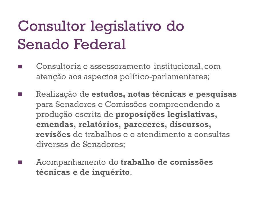 Consultor legislativo do Senado Federal Consultoria e assessoramento institucional, com atenção aos aspectos político-parlamentares; Realização de est
