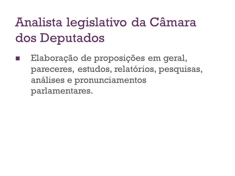 Analista legislativo da Câmara dos Deputados Elaboração de proposições em geral, pareceres, estudos, relatórios, pesquisas, análises e pronunciamentos