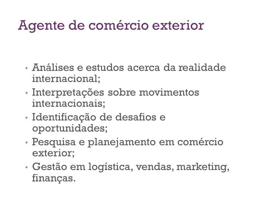 Agente de comércio exterior Análises e estudos acerca da realidade internacional; Interpretações sobre movimentos internacionais; Identificação de des