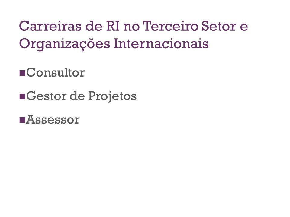 Carreiras de RI no Terceiro Setor e Organizações Internacionais Consultor Gestor de Projetos Assessor