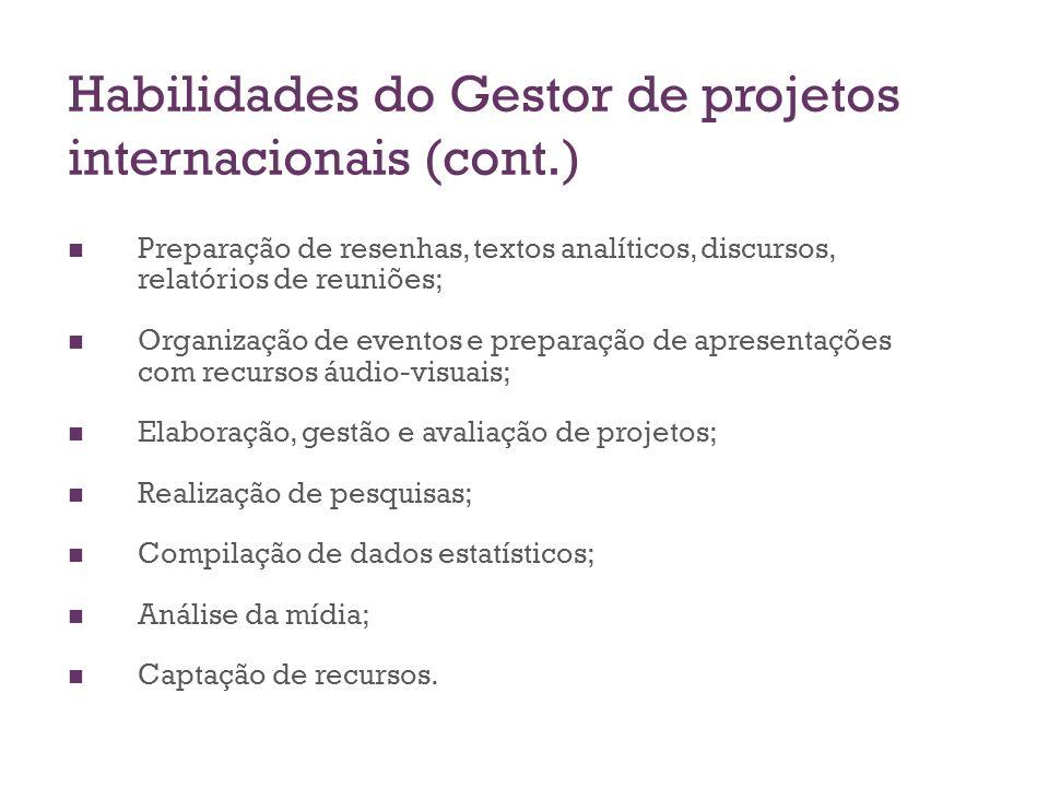 Habilidades do Gestor de projetos internacionais (cont.) Preparação de resenhas, textos analíticos, discursos, relatórios de reuniões; Organização de