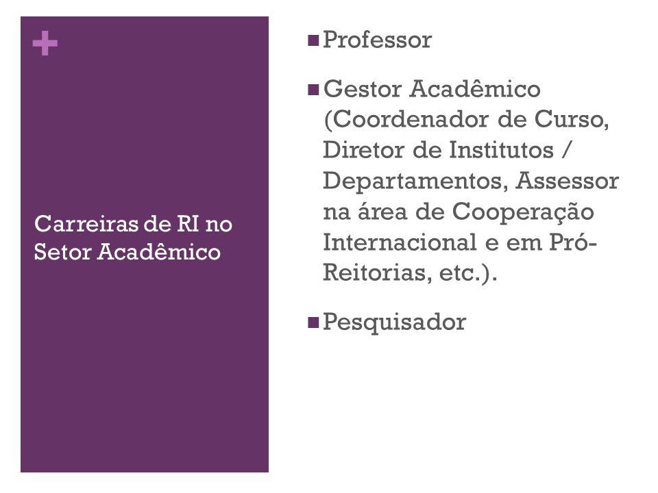 + Carreiras de RI no Setor Acadêmico Professor Gestor Acadêmico (Coordenador de Curso, Diretor de Institutos / Departamentos, Assessor na área de Coop