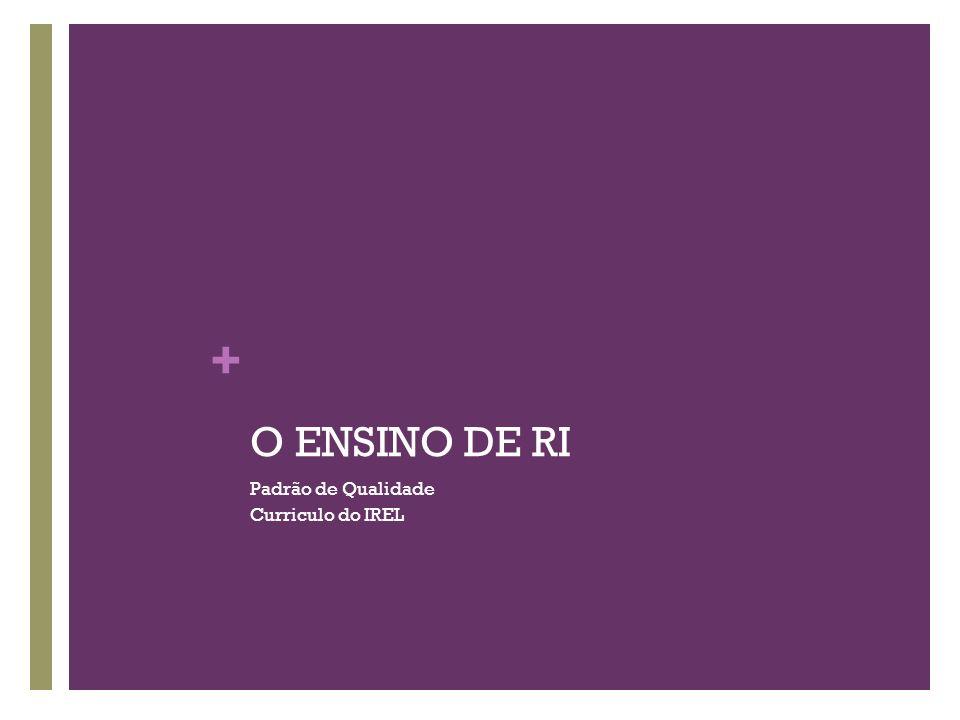 + O ENSINO DE RI Padrão de Qualidade Curriculo do IREL