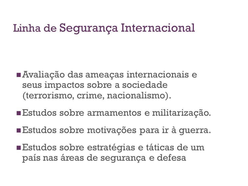 Linha de Segurança Internacional Avaliação das ameaças internacionais e seus impactos sobre a sociedade (terrorismo, crime, nacionalismo). Estudos sob