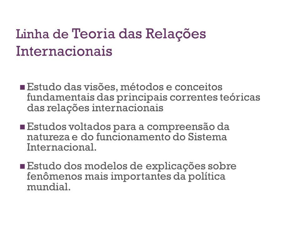 Linha de Teoria das Relações Internacionais Estudo das visões, métodos e conceitos fundamentais das principais correntes teóricas das relações interna
