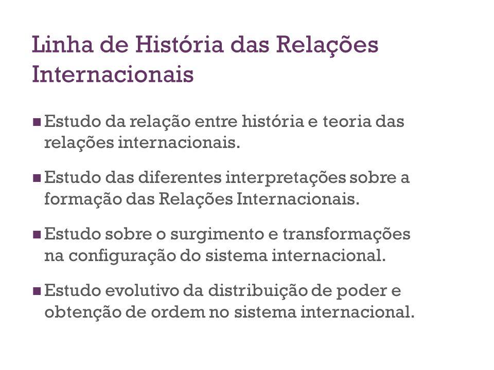 Linha de História das Relações Internacionais Estudo da relação entre história e teoria das relações internacionais. Estudo das diferentes interpretaç