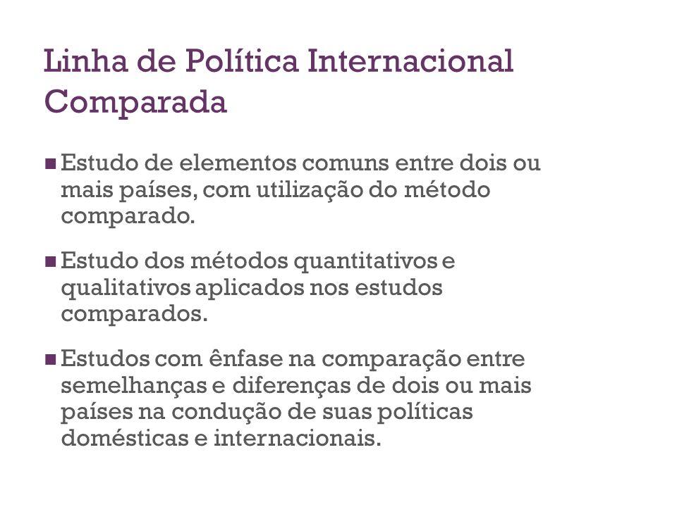 Linha de Política Internacional Comparada Estudo de elementos comuns entre dois ou mais países, com utilização do método comparado. Estudo dos métodos