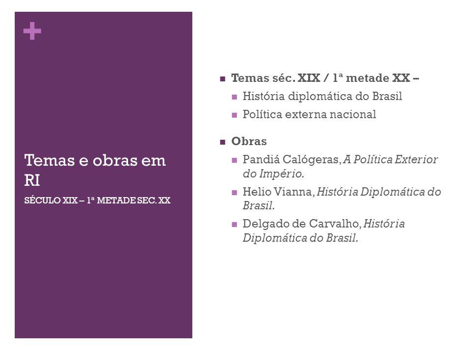 + Temas e obras em RI Temas séc. XIX / 1ª metade XX – História diplomática do Brasil Política externa nacional Obras Pandiá Calógeras, A Política Exte