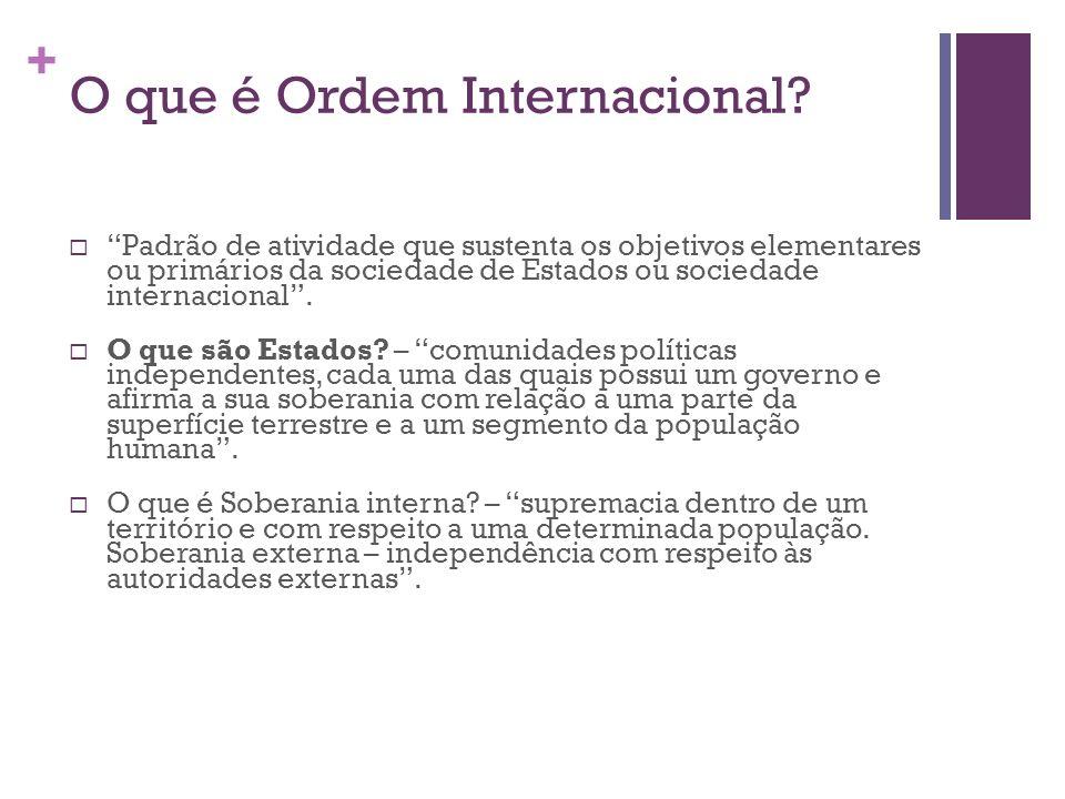 + O que é Ordem Internacional? Padrão de atividade que sustenta os objetivos elementares ou primários da sociedade de Estados ou sociedade internacion