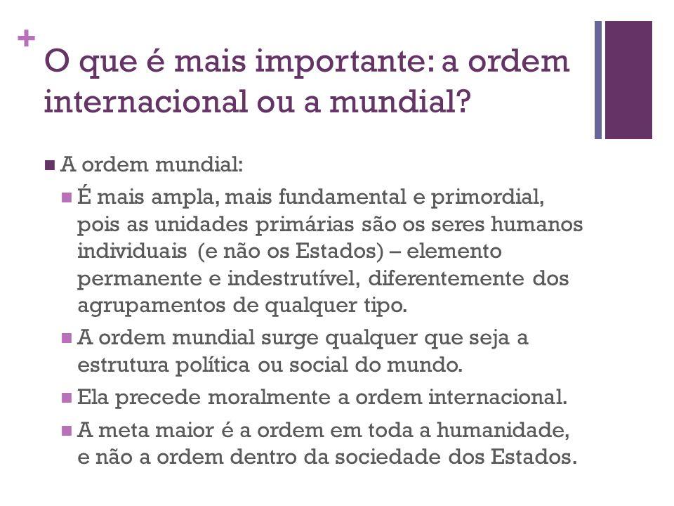 + O que é mais importante: a ordem internacional ou a mundial? A ordem mundial: É mais ampla, mais fundamental e primordial, pois as unidades primária