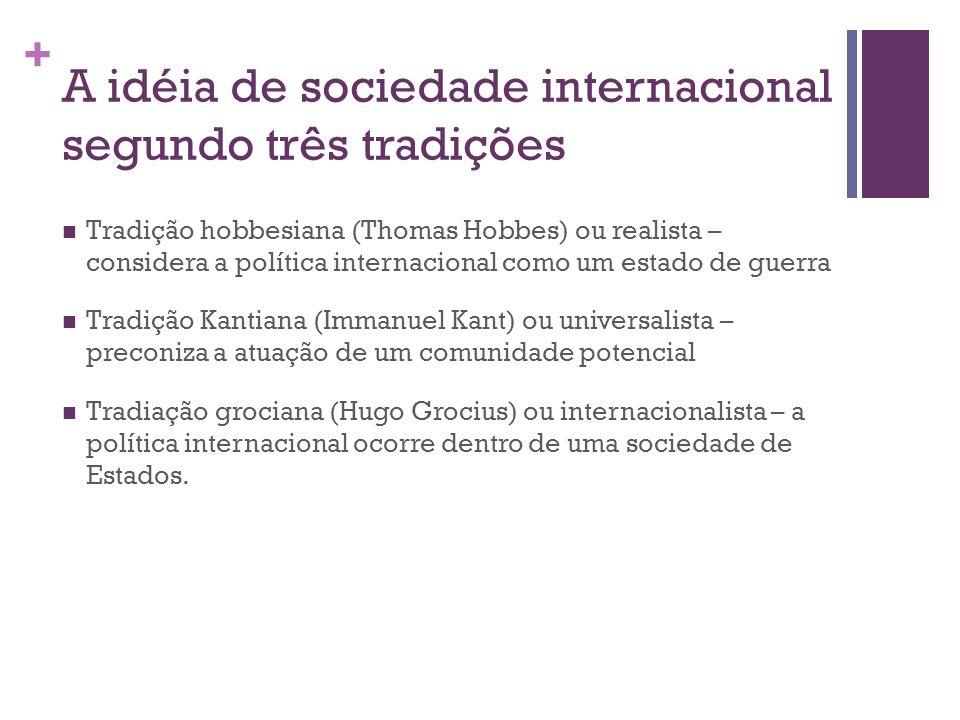 + A idéia de sociedade internacional segundo três tradições Tradição hobbesiana (Thomas Hobbes) ou realista – considera a política internacional como
