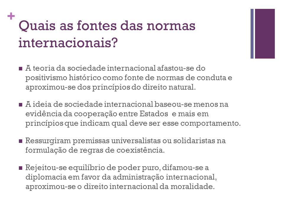 + Quais as fontes das normas internacionais? A teoria da sociedade internacional afastou-se do positivismo histórico como fonte de normas de conduta e