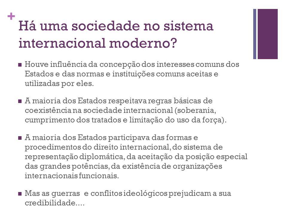 + Há uma sociedade no sistema internacional moderno? Houve influência da concepção dos interesses comuns dos Estados e das normas e instituições comun