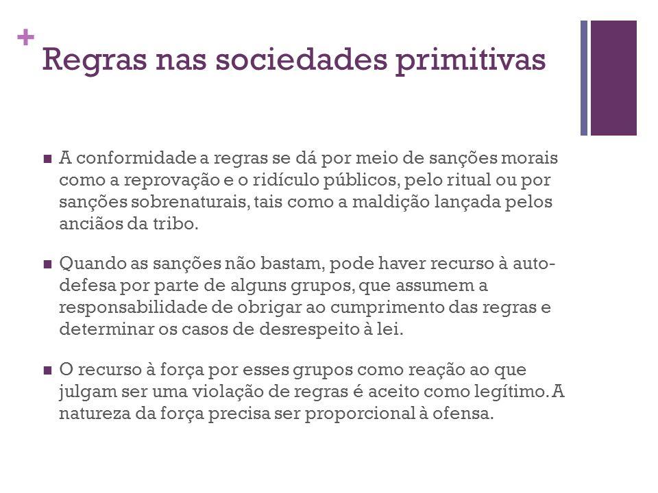 + Regras nas sociedades primitivas A conformidade a regras se dá por meio de sanções morais como a reprovação e o ridículo públicos, pelo ritual ou po