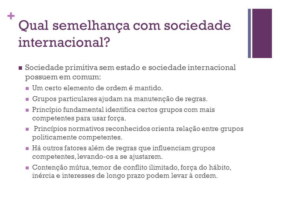 + Qual semelhança com sociedade internacional? Sociedade primitiva sem estado e sociedade internacional possuem em comum: Um certo elemento de ordem é