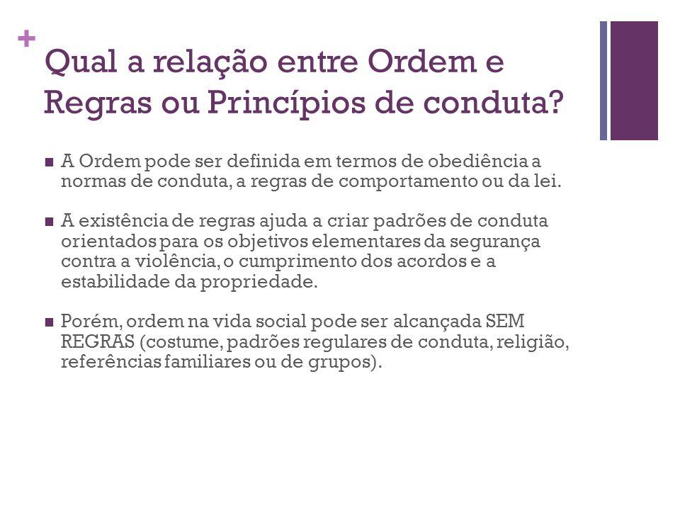 + Qual a relação entre Ordem e Regras ou Princípios de conduta? A Ordem pode ser definida em termos de obediência a normas de conduta, a regras de com