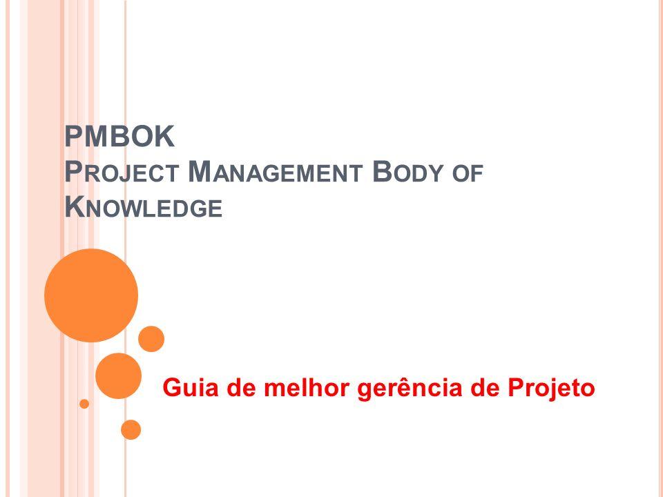 PMBOK P ROJECT M ANAGEMENT B ODY OF K NOWLEDGE Guia de melhor gerência de Projeto