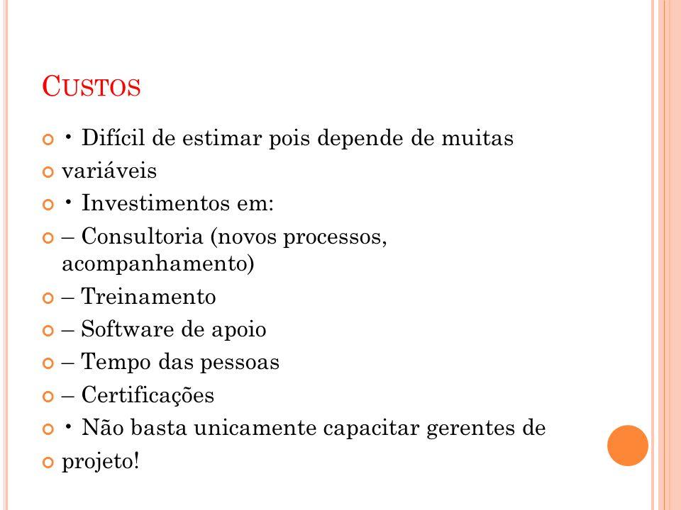 C USTOS Difícil de estimar pois depende de muitas variáveis Investimentos em: – Consultoria (novos processos, acompanhamento) – Treinamento – Software