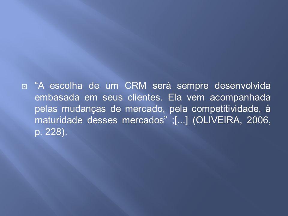 A escolha de um CRM será sempre desenvolvida embasada em seus clientes.