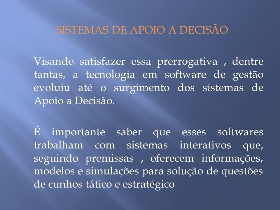 SISTEMAS DE APOIO A DECISÃO Visando satisfazer essa prerrogativa, dentre tantas, a tecnologia em software de gestão evoluiu até o surgimento dos sistemas de Apoio a Decisão.