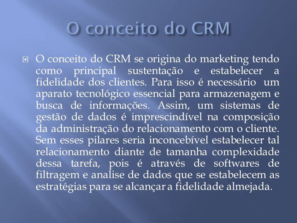 O conceito do CRM se origina do marketing tendo como principal sustentação e estabelecer a fidelidade dos clientes.