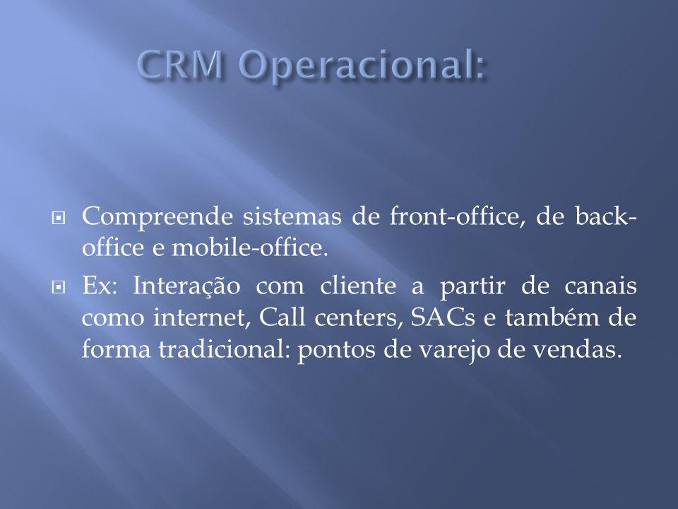 Compreende sistemas de front-office, de back- office e mobile-office.