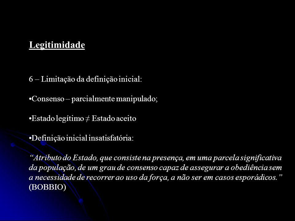 6 – Limitação da definição inicial: Consenso – parcialmente manipulado; Estado legítimo Estado aceito Definição inicial insatisfatória: Atributo do Es