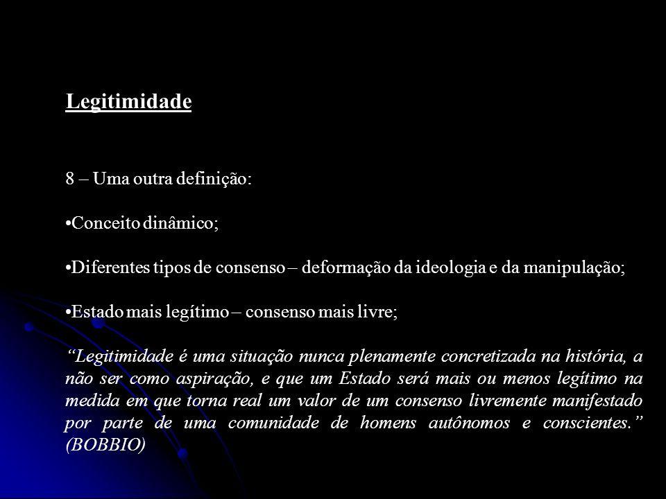 Legitimidade 8 – Uma outra definição: Conceito dinâmico; Diferentes tipos de consenso – deformação da ideologia e da manipulação; Estado mais legítimo