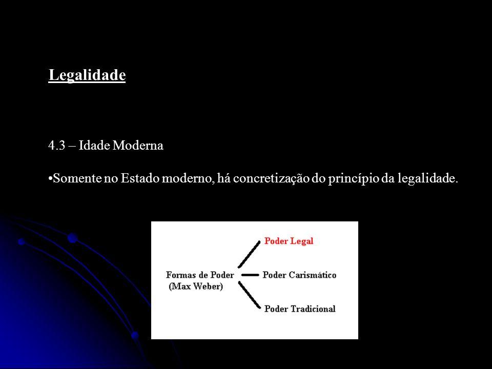 Legalidade 5 – Princípio da Legalidade: Essência – a lei é tanto para os governantes como para os governados; todos os organismos que exercem o poder público devem atuar no âmbito das leis.
