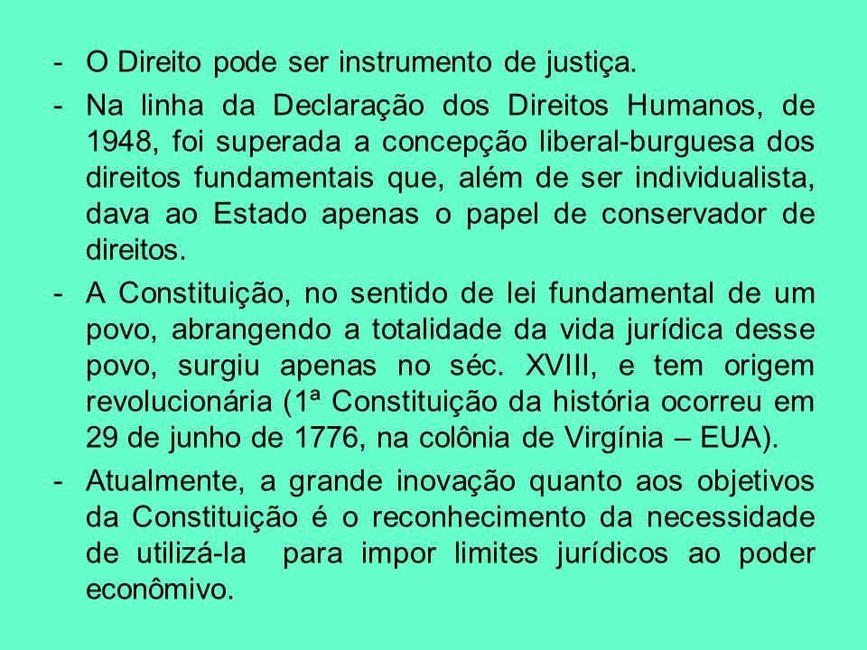 -O Direito pode ser instrumento de justiça. -Na linha da Declaração dos Direitos Humanos, de 1948, foi superada a concepção liberal-burguesa dos direi