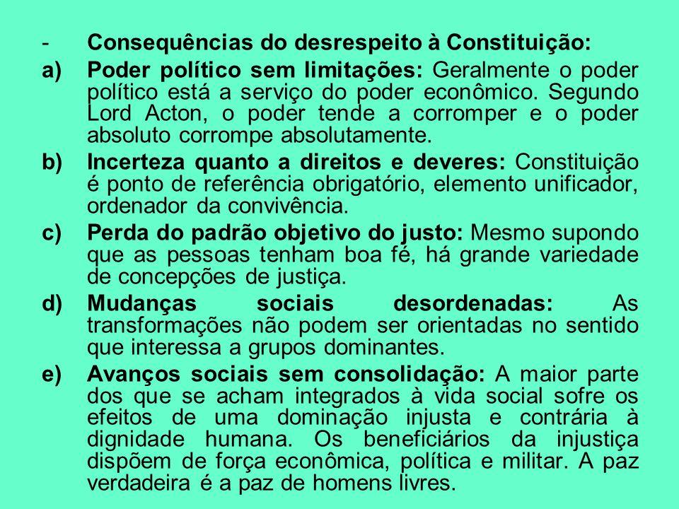 -Consequências do desrespeito à Constituição: a)Poder político sem limitações: Geralmente o poder político está a serviço do poder econômico. Segundo