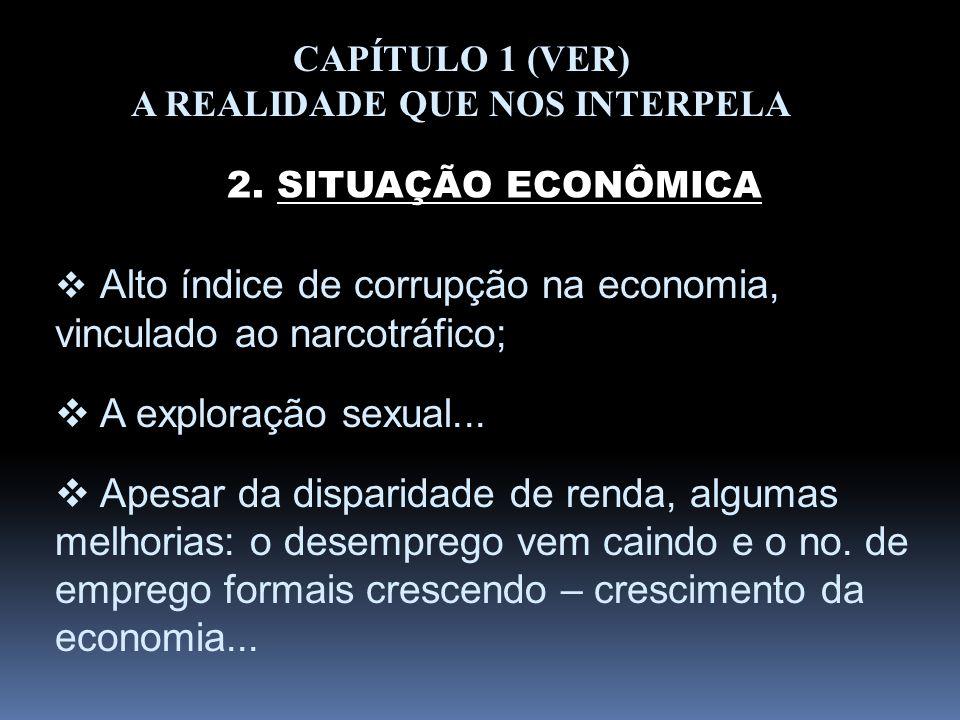 CAPÍTULO 1 (VER) A REALIDADE QUE NOS INTERPELA 2. SITUAÇÃO ECONÔMICA Alto índice de corrupção na economia, vinculado ao narcotráfico; A exploração sex