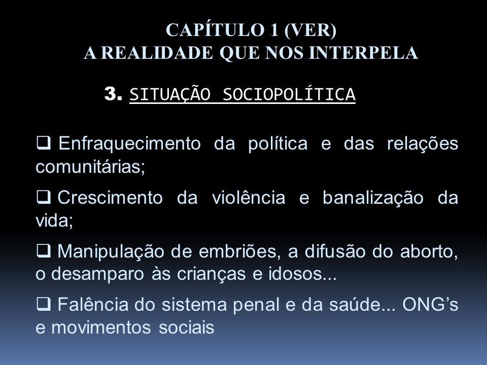 CAPÍTULO 1 (VER) A REALIDADE QUE NOS INTERPELA 3. SITUAÇÃO SOCIOPOLÍTICA Enfraquecimento da política e das relações comunitárias; Crescimento da violê