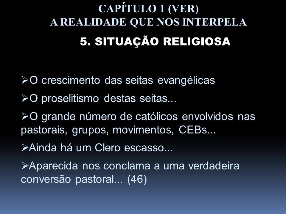 CAPÍTULO 1 (VER) A REALIDADE QUE NOS INTERPELA 5. SITUAÇÃO RELIGIOSA O crescimento das seitas evangélicas O proselitismo destas seitas... O grande núm