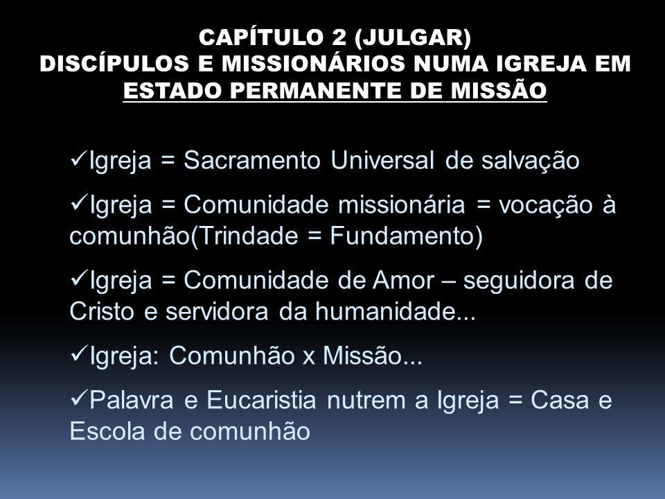 CAPÍTULO 2 (JULGAR) DISCÍPULOS E MISSIONÁRIOS NUMA IGREJA EM ESTADO PERMANENTE DE MISSÃO Igreja = Sacramento Universal de salvação Igreja = Comunidade