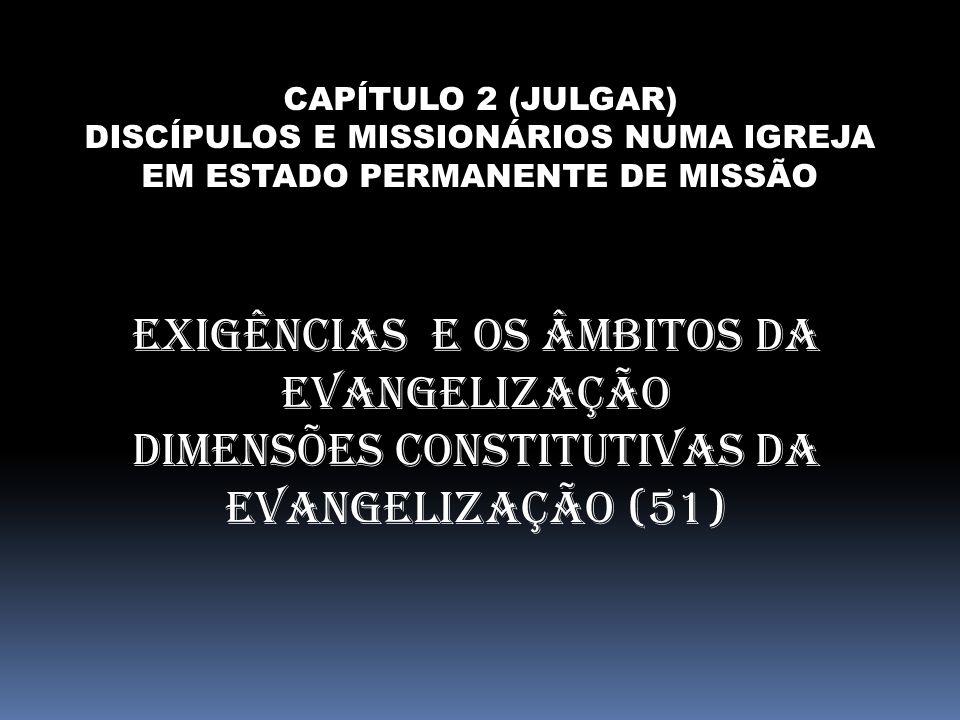 CAPÍTULO 2 (JULGAR) DISCÍPULOS E MISSIONÁRIOS NUMA IGREJA EM ESTADO PERMANENTE DE MISSÃO EXIGÊNCIAS E OS ÂMBITOS DA EVANGELIZAÇÃO DIMENSÕES CONSTITUTI