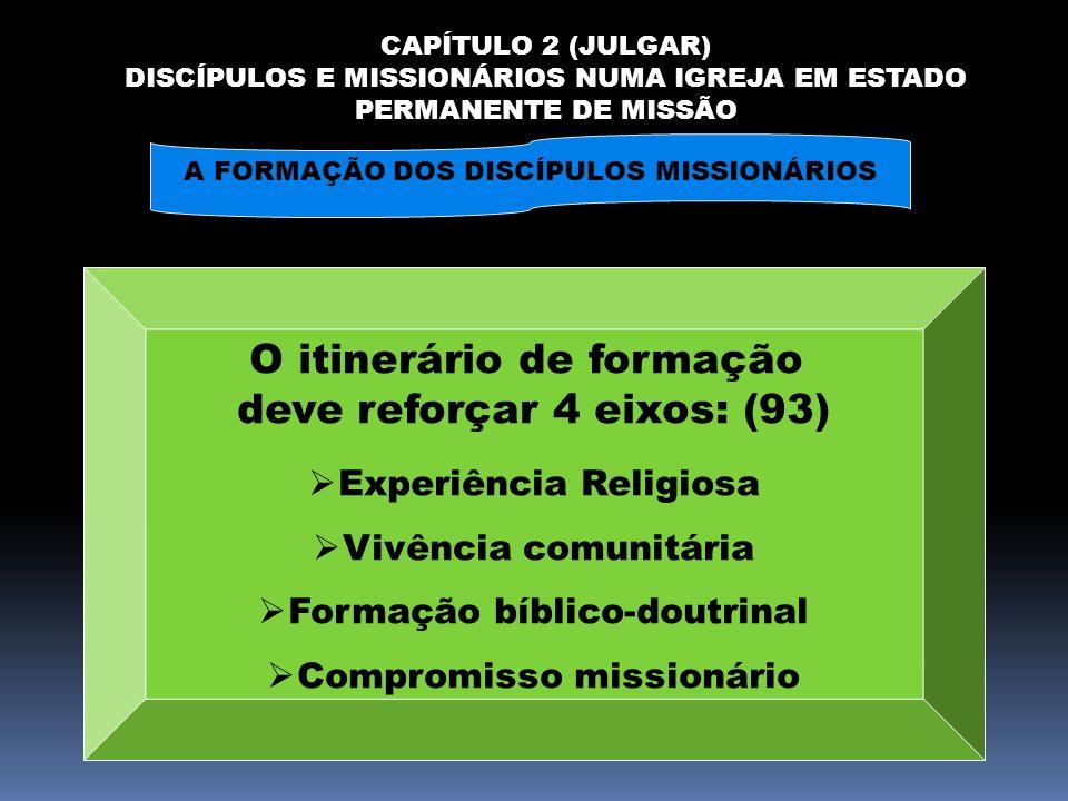 CAPÍTULO 2 (JULGAR) DISCÍPULOS E MISSIONÁRIOS NUMA IGREJA EM ESTADO PERMANENTE DE MISSÃO A FORMAÇÃO DOS DISCÍPULOS MISSIONÁRIOS O itinerário de formaç