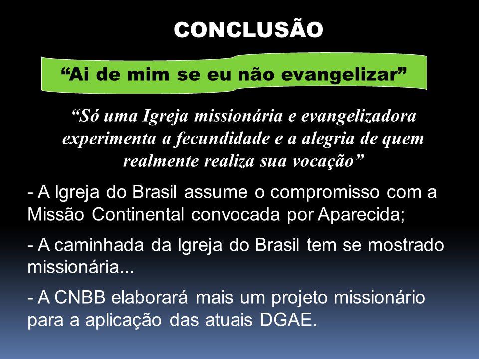 CONCLUSÃO Ai de mim se eu não evangelizar Só uma Igreja missionária e evangelizadora experimenta a fecundidade e a alegria de quem realmente realiza s