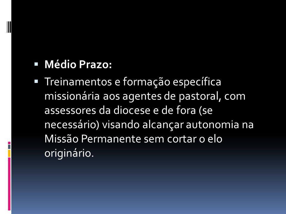 Médio Prazo: Treinamentos e formação específica missionária aos agentes de pastoral, com assessores da diocese e de fora (se necessário) visando alcan