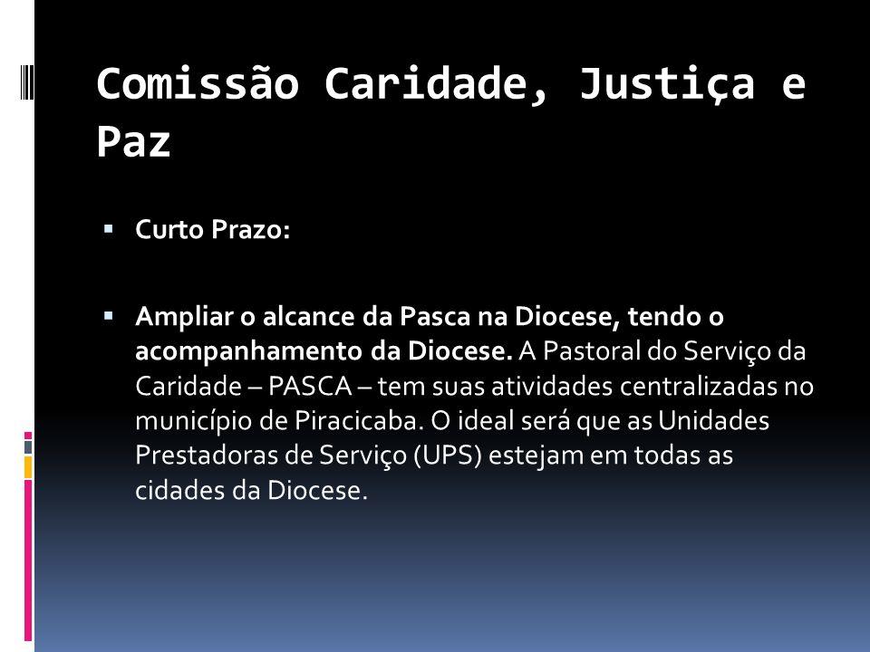 Comissão Caridade, Justiça e Paz Curto Prazo: Ampliar o alcance da Pasca na Diocese, tendo o acompanhamento da Diocese. A Pastoral do Serviço da Carid