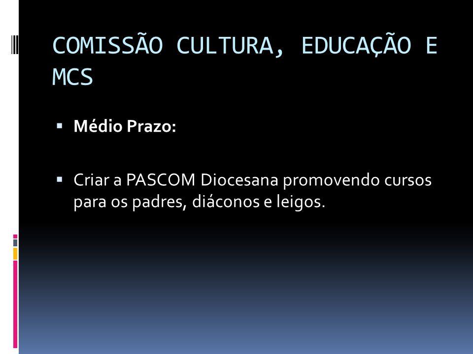 COMISSÃO CULTURA, EDUCAÇÃO E MCS Médio Prazo: Criar a PASCOM Diocesana promovendo cursos para os padres, diáconos e leigos.