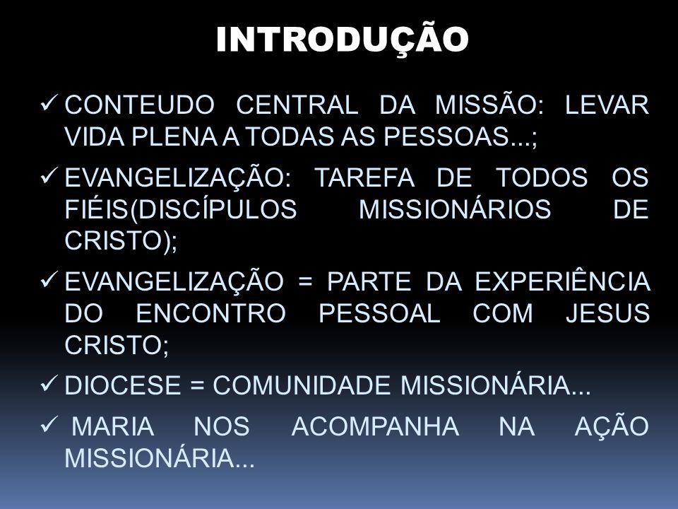INTRODUÇÃO CONTEUDO CENTRAL DA MISSÃO: LEVAR VIDA PLENA A TODAS AS PESSOAS...; EVANGELIZAÇÃO: TAREFA DE TODOS OS FIÉIS(DISCÍPULOS MISSIONÁRIOS DE CRIS