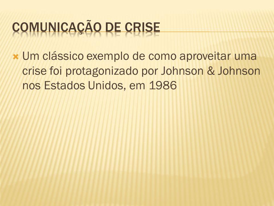 Um clássico exemplo de como aproveitar uma crise foi protagonizado por Johnson & Johnson nos Estados Unidos, em 1986