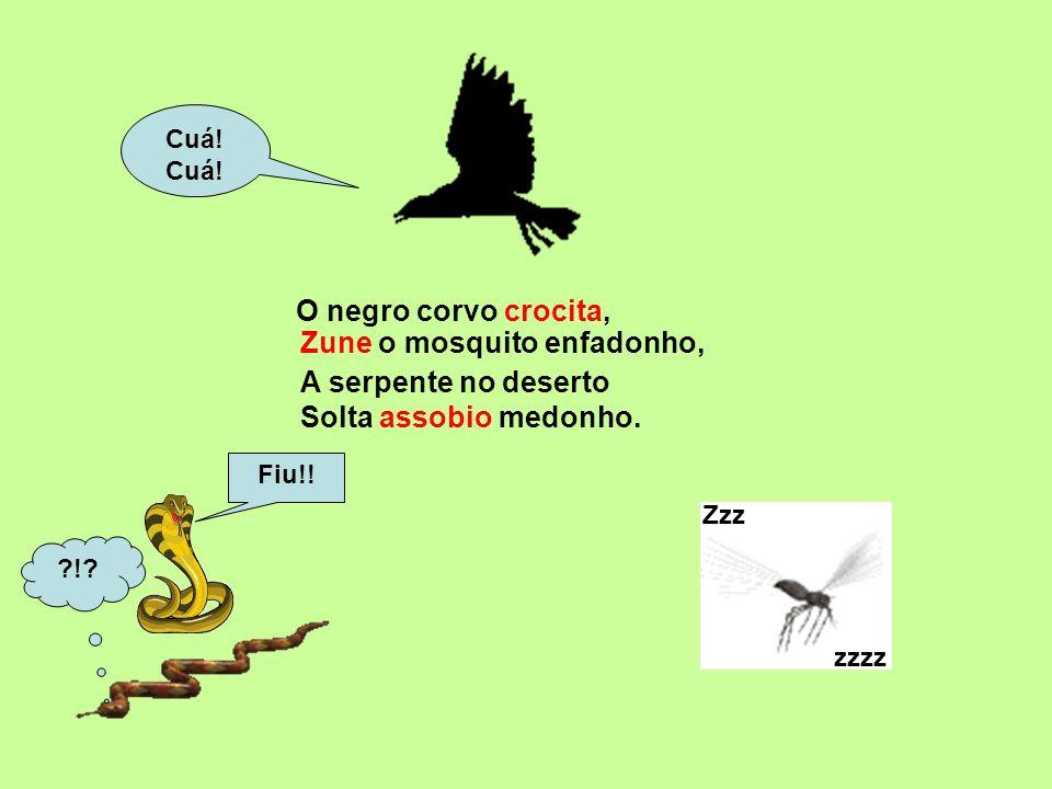 O negro corvo crocita, Cuá.Zzz zzzz Fiu!. ?!. A serpente no deserto Solta assobio medonho.