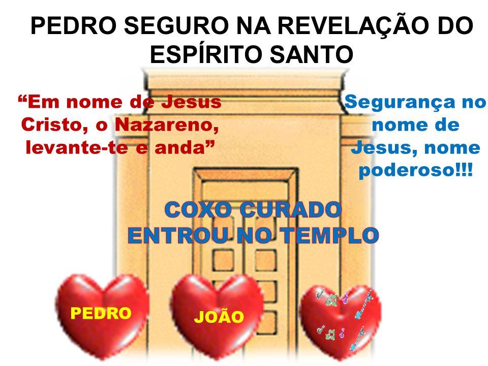 PEDRO SEGURO NA REVELAÇÃO DO ESPÍRITO SANTO PEDRO JOÃO Em nome de Jesus Cristo, o Nazareno, levante-te e anda Segurança no nome de Jesus, nome poderos